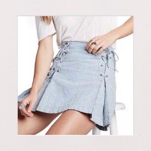 NWT | Free People | Blue Stripe Mini Skirt | 8